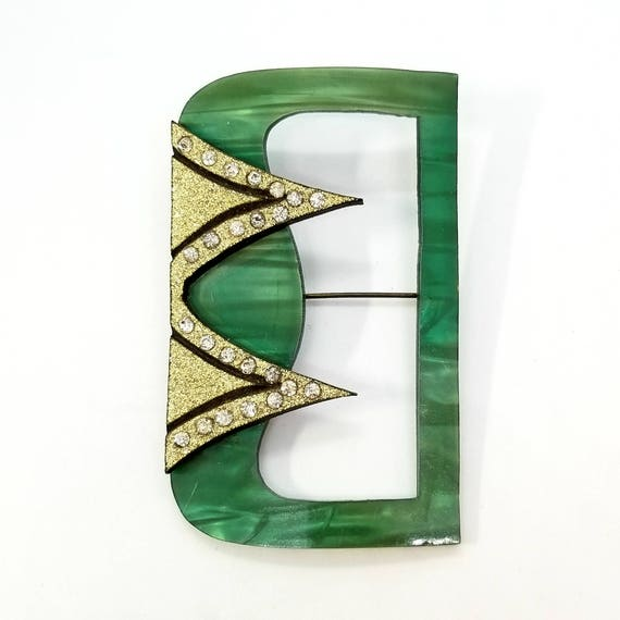 1920s Plastic Double Layer 'Belt Buckle' Brooch with Glitter and Rhinestones