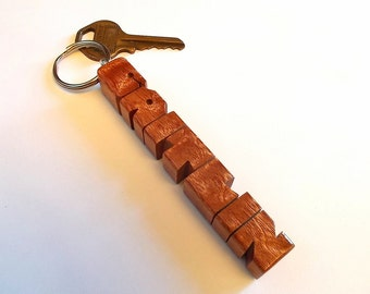 "Name Keychain in Sapele ""Pommele"" Wood, Carved to Order"