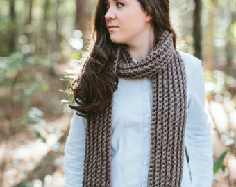 Chunky Textured Knit Scarf Long Open Ended Ribbed // The JAMES