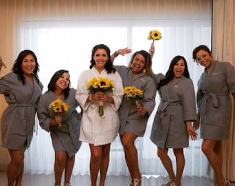 Wedding Robes - Bridesmaid Gift - Bridesmaid Robes - Personalized - Short Kimono Waffle Weave Robes - Monogrammed Gift - Bridal Robes, Set
