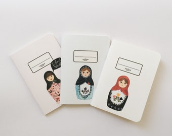Russian Doll Pocket Notebooks - Russian Nesting Doll illustration - 3 Pocket Notebooks Pack - Journal - Sketchbook - Blank and Lined pages
