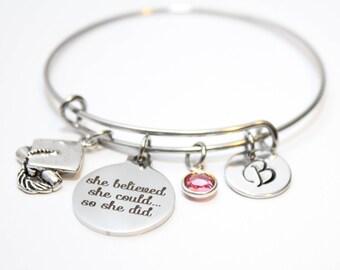 graduation gift, personalized graduation gift, graduation theme gift, graduation bracelet, graduation bangle, graduation charm bracelet