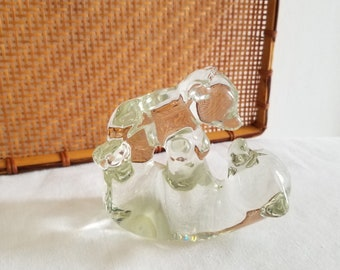 Vintage Action International Glass Art Mama and Baby Bear Figurine