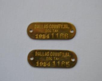 Vintage 1984 Brass Metal Madison Iowa Dog Numbered Tags Unused Lot of 2