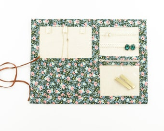 Small Jewelry Case / Roll up Travel Case - Rosa Floral in Hunter Green - Rifle Paper Co.