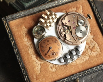Antique Pocket Watch part brooch, vintage, steampunk, pin, jewelry, up cycled, recycled, victorian gothic assemblage