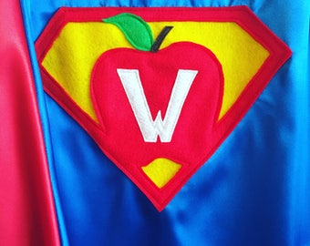 ADULT Custom Super Hero Cape - Super Teacher Cape - Teacher Appreciation - Adult Super Hero Capes - Superhero Cape - Preschool /Elementary