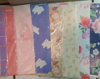 Vintage gift wrapping paper lot
