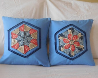 Blue Octagon Pillows