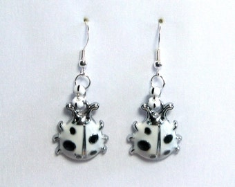 Ladybug white enameled 3D earrings one sided on silver black white glass accent on 925 Sterling Silver wires E123