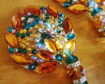 """Green and gold burlesque pasties, nipple tassels, nipple covers floral design: """"Buttercup"""". 3 in 1 design!"""