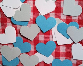 "Hearts, 1"" ~ Teal, White, and Gray Hearts Valentine Confetti Mix, Color on Both Sides, Baby Shower, Wedding, Flower Girl Toss"