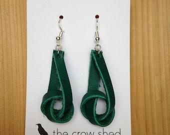 Teal Leather Knot Handmade Earrings
