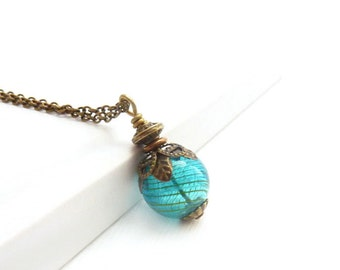 Teal Blue Pendant - Hand Blown Glass - Wire Wrapped Necklace - Antiqued Bronze - Minimalist Necklace - Gift for Her