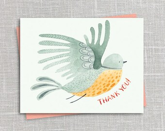 Green Bird Thank You Notecard Instant Download PDF