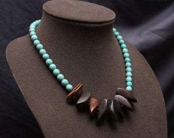 Fierce! Turquoise Wood Necklace