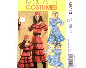 McCall's M5210, Girls' Gypsy, Country Girl Costume, Child's Costume Pattern, Halloween, Cosplay, Pageant Pattern, Size 3-8, Uncut Pattern