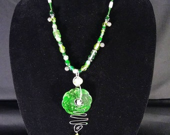 Bold Green Statement Necklace with Large Pendant