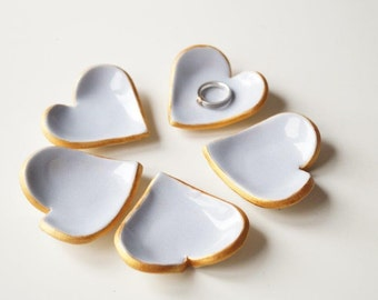 Wedding Favors, Ceramic Heart , 5 pieces, Little Heart Bowl, Wedding Party Favors, Lilac Heart, Guest Gift, Table decorations