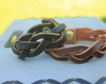 Brown Leather Braid Cuff