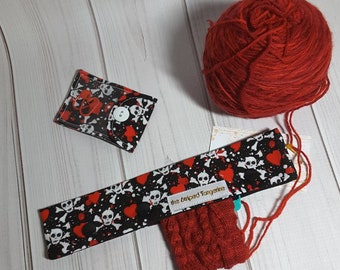 "Double Point Needle Case, Needle and Hook Holder, DPN Cozy 9"" - Skulls and Hearts"