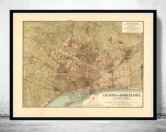 Old Map of Barcelona, Spain Cataluña 1900 Vintage map Barcelona