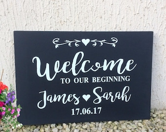 Large Wedding Sign Personalised Wooden Welcome To Our Beginning Vintage, Wedding venue Decoration, handmade