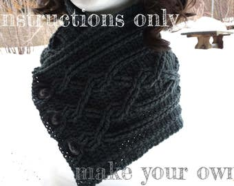INSTRUCTIONS ONLY - Crochet your own Cables Sampler Neckwarmer Scarf Cowl Infinity Cabled Pattern Download