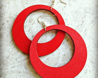 Large Red Wood Hoop Earrings Boho Gypsy African Tichel Accessory Earrings Large Wooden Lightweight Earrings Ankara Wrap Accessory
