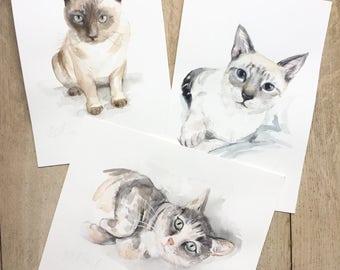CUSTOM CAT PAINTING, pet portrait, cat, Custom pet portrait, watercolor, cat portraits, siamese cat, gift, cat, pet portrait, studionin