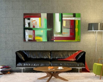Original Abstract Painting handmade artwork 24x48 colorful contemporary, modern artwork beautiful wall decor art lines and colors abstract