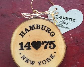 14075 Hamburg, New York  Wood Slice Ornament