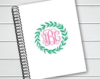 Personalized Notebook, Laurel and Monogram Coil Notebook, Writing Journal (NB-016-PC)