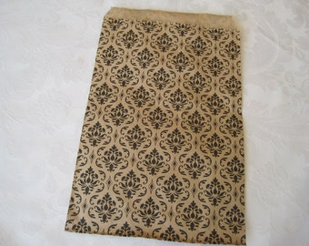 50 Paper Bags, Gift Bags, Damask Print, Black Damask, Kraft Paper Bags, Candy Bags, Brown Paper Bags, Wedding Favor Bags 6x9