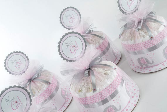 "Five ""Little Elephant"" Pink/Gray Mini Diaper Cakes. Baby Shower Centerpieces."