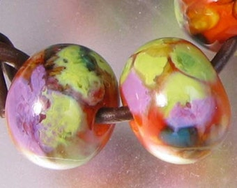 Autumn Woodland Lampwork Spacer Handmade Glass Beads Orange Lavender Green Blue Choice 2 4 5 or 6 bead set