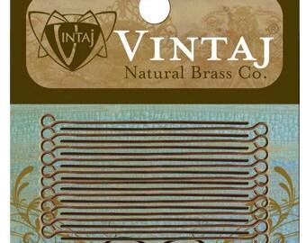 20 Vintaj Natural Brass Open Eyepins 21 Gauge 1.5 Inches (EP15)