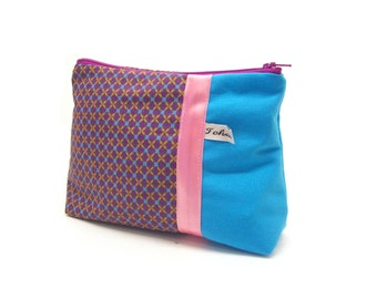 make up case turquoise and purple graphic fabric , zippered case in canvas , make up pouch