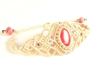 Macrame Bracelet, Rhodochrosite Bracelet with Light Beige Thread