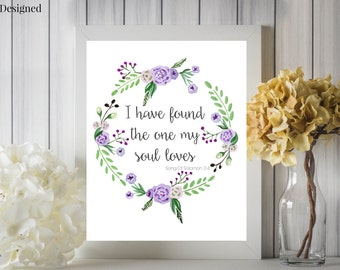 My Soul Loves Song of Solomon Purple Watercolor Floral Wreath Marriage Quote Digital Printable 8x10