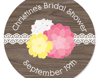 24 Rustic Floral Circle Stickers - Personalized Baby Shower, Birthday Party, or Bridal Shower DIY Craft Supplies