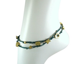 Denim Blue Double Wrap Ties and Gold Charms Anklet for Good Luck and Protection