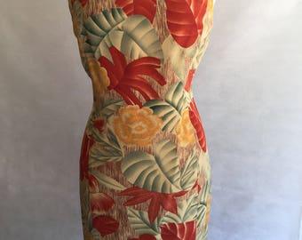 Floral Silk Sheath Dress