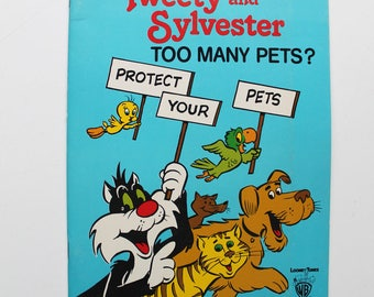 Tweety and Sylvester Too Many Pets? I'm an Artist Storybook Watercolor Paint Book 1979