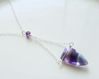 Fluorite Necklace, Rainbow Fluorite Gemstone, Multicolored Fluorite Necklace, Sterling Silver Pendant, Sterling Silver Fluorite Necklace