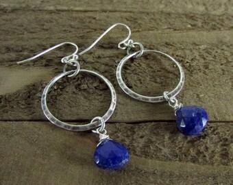 Lapis Earrings, Circle Gemstone Earrings, Turquoise Earrings, Fine Silver Plating Earrings