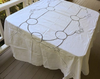 "White Lace Tablecloth 96"" by 70"" Vintage Lace Tablecloth"