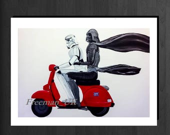 Star Wars,  Darth Vader and Storm trooper on a Scooter Greetings card.  'DARTH VESPA'
