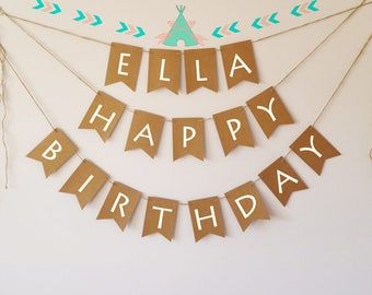 Personalised happy birthday banner bunting, teepee, arrow, tribal, wild and free, wild one party
