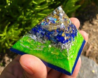 Powerful Lapis Orgone Pyramid - Self Care - Handmade - EMF Protection